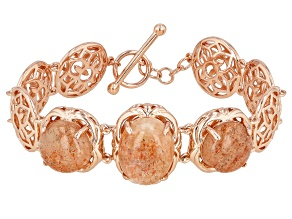 Orange Sunstone Copper Filigree Bracelet