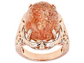 Red Sunstone Solitaire Copper Ring