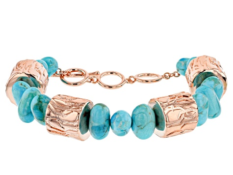 Blue Turquoise Bead Copper Bracelet