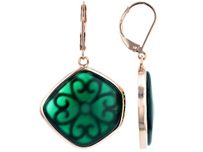 Green Onyx Copper Dangle Earrings