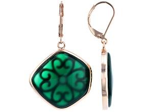 Green Onyx Copper Dangle Earrings