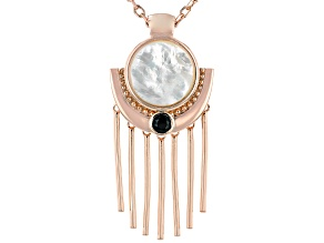 White Mother-Of- Pearl Copper Pendant W/Chain .51ctw