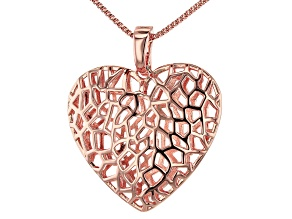 Copper Filigree Heart Enhancer With Chain