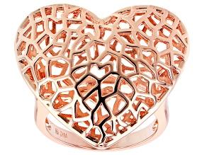 Copper Filigree Heart Ring