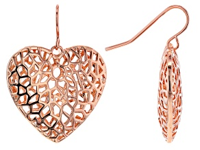 Copper Filigree Heart Dangle Earrings