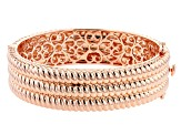 3-Row Textured Hinged Copper Bangle Bracelet