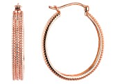 3-Row Copper Textured Hoop Earrings