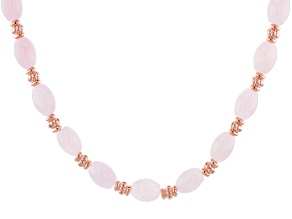 Rose Quartz Bead Copper Station Necklace