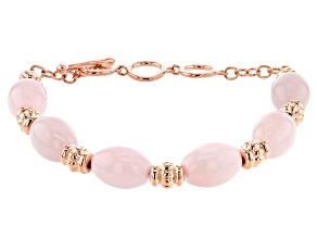Rose Quartz Bead Copper Station Bracelet