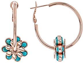 Turquoise Flower Charm Copper Hoop Earrings