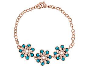 Turquoise Flower Copper Station Bracelet