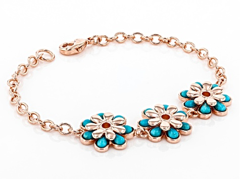 Turquoise Flower Copper Station Bracelet