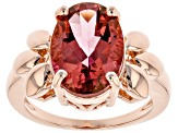Coral Color Topaz Copper Solitaire Ring 5.47ct