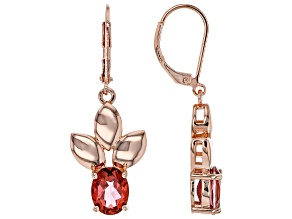 Coral Color Topaz Leaf Design Copper Earrings 3.69ctw