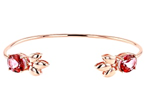 Coral Color Topaz Leaf Design Copper Bracelet 7.53ctw