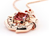 Coral Color Topaz Copper Flower Pendant with Chain 3.07ct