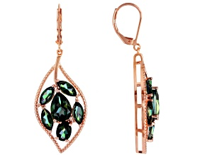 Princess™ Quartz Copper Leaf Design Earrings 8.23ctw