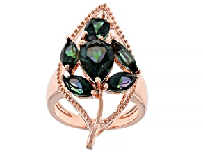 Princess™ Quartz Copper Leaf Design Ring 10.29ctw