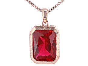 Red Lab Created Ruby Copper Pendant W/Chain 11.87ct