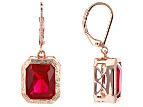 Red Lab Created Ruby Copper Dangle Earrings 11.09ctw