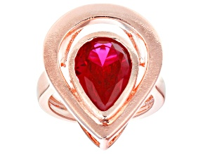 Red Lab Created Ruby Copper Ring  3.78ct