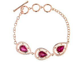 Red Lab Created Ruby Copper Bracelet 5.23ctw