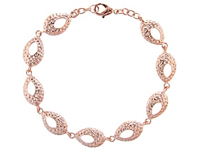 Copper Hammered Station Bracelet