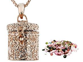 Multi-Color Mixed Gemstones Copper Prayer Box 4.31ctw