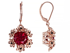 Red Lab Created Ruby With Black Spinel Copper Flower Dangle Earrings 6.12ctw