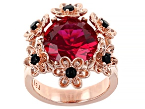 Red Lab Created Ruby With Black Spinel Copper Flower Ring 5.42ctw