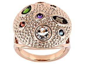 Mix Shape Multi- Gemstone Textured Copper Dome Ring 1.96ct