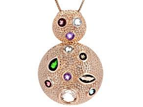 Mix Shape Multi- Gemstone Textured Copper Door Knocker Pendant w/ Chain 8.63ctw