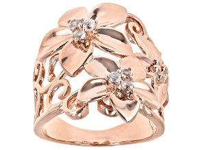 White Topaz Copper Flower Ring 0.20ctw