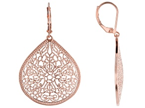 Filigree Pear Shape Copper Earrings