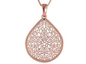 """Filigree Pear Shape Copper Pendant W/ 18"""" Chain"""