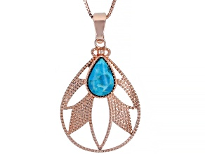 "Turquoise Pear Shape Copper Enhancer With 18"" Chain"