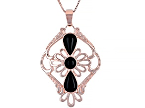 Black Onyx Filigree Style Copper Enhancer With 18