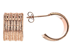 Copper Textured Huggie Earrings