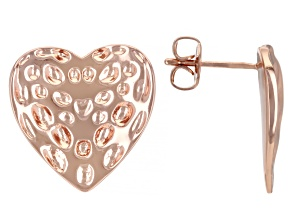Copper Textured Heart Stud Earrings