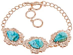Turquoise 3-Stone Copper Bracelet