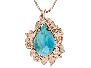 "Turquoise Copper Pendant With 18"" Chain"