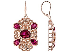 Lab Created Ruby Copper Filigree Earrings 12.45ctw