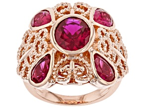Lab Created Ruby Copper Filigree Ring 6.23ctw