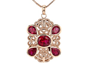 "Lab Created Ruby Copper Filigree Pendant W/ 18"" Chain 12.70ctw"