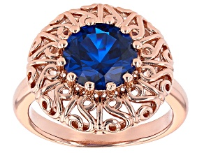 Blue Lab Created Spinel Filigree Design Copper Ring 3.00ct