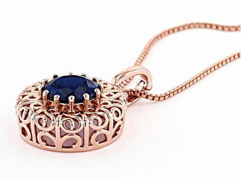 "Blue Lab Created Spinel Filigree Design Copper Enhancer With 18"" Chain 3.99ct"