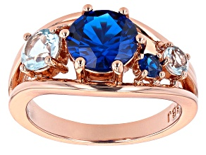 Blue Lab Created Spinel & Sky Blue Topaz Copper Ring 2.86ctw