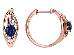 Blue Lab Created Spinel & Topaz Copper Hoop Earrings 2.93ctw