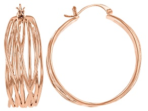Copper Criss Cross With Open Design Work Hoop Earrings