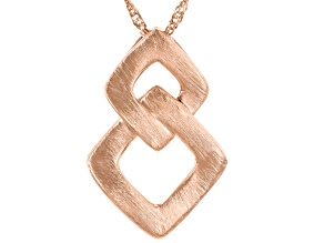 """Copper Brushed Interlocking Squares Slide Pendant With 18"""" Chain"""
